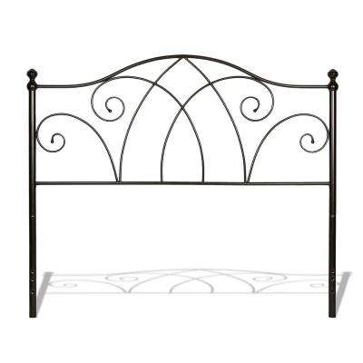 Deland Brown Sparkle King Metal Headboard with Curved Grill Design and Finial Posts