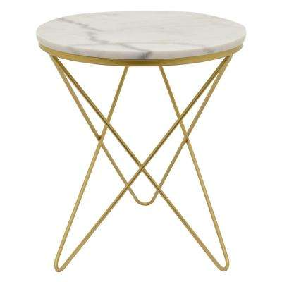 23.75 in. Gold Metal Marble Top Table