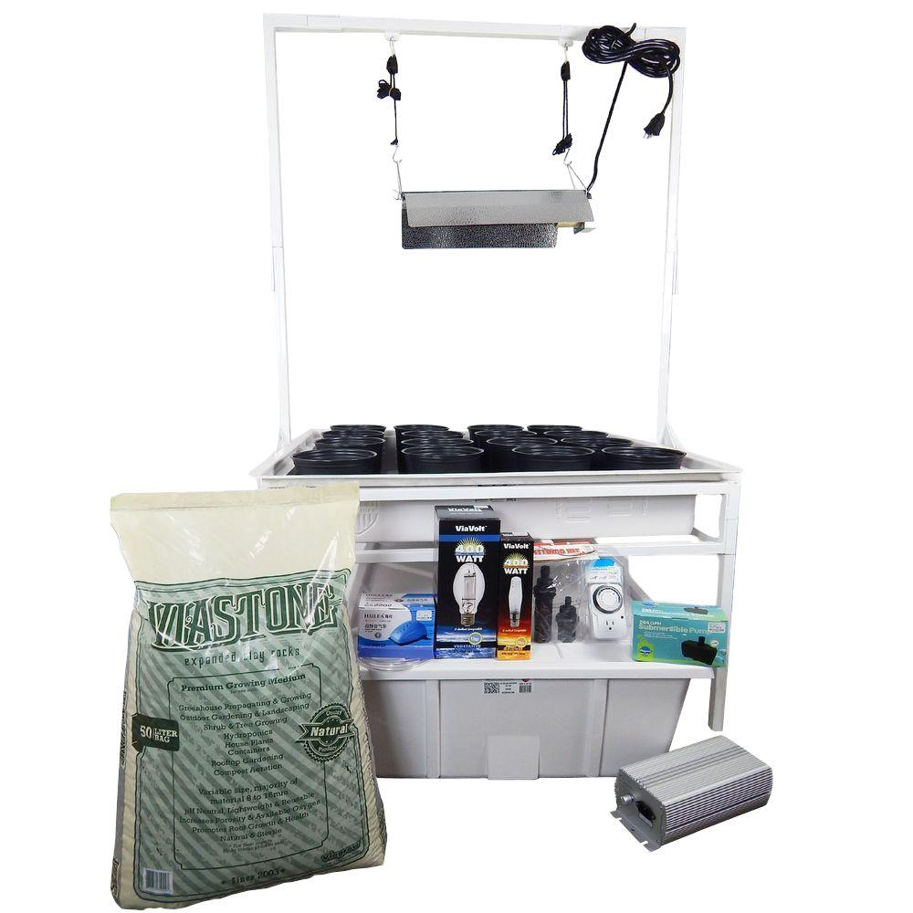 Viagrow 3 ft. x 3 ft. White Flood and Drain Benched Syste...