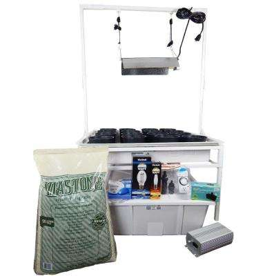 3 ft. x 3 ft. White Flood and Drain Benched System with Light Stand and 400-Watt Electronic Dimmable System