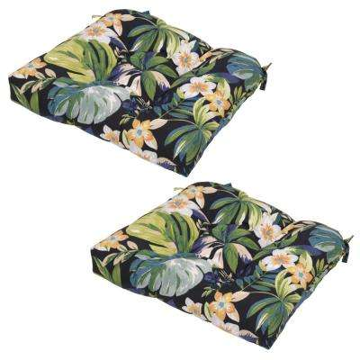 Caprice Tropical Outdoor Seat Cushion (2-Pack) - Tropical - Black - Outdoor Seat Cushions - Outdoor Chair Cushions