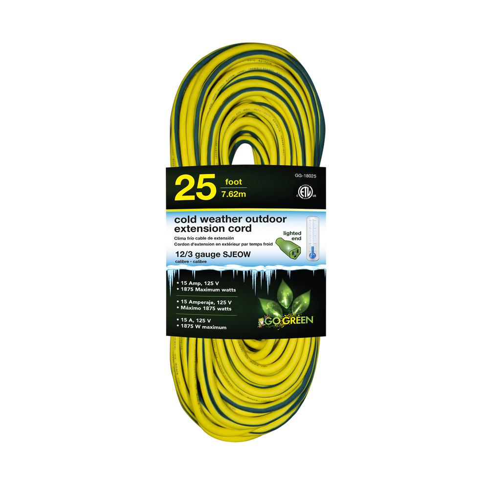 Go Green Power 25 ft. 12/3 SJEOW Cold Weather Extension Cord with Lighted End