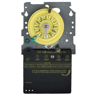 T100 Series 120-Volt 24-Hour Indoor/Outdoor Mechanical Timer Switch Mechanism Only SPST, Gray/Metal