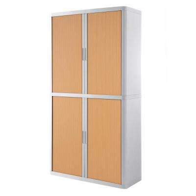Paperflow easyOffice White and Beech 80 in. Tall Storage Cabinet with 4-Shelves