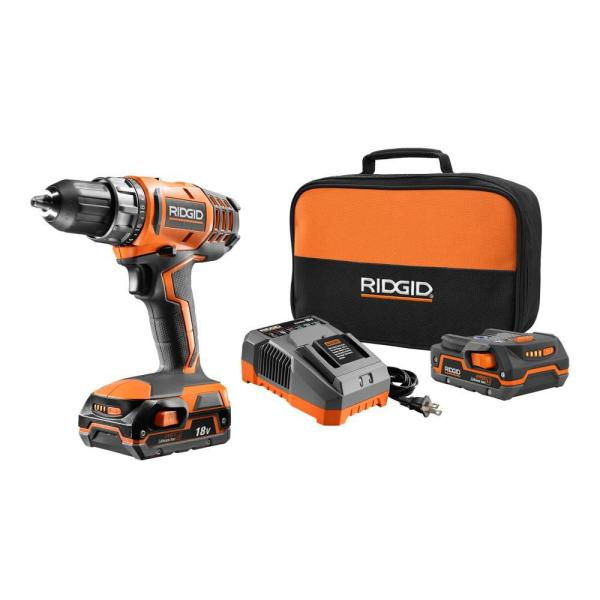 18-Volt Lithium-Ion Cordless 2-Speed 1/2 in. Compact Drill/Driver Kit with (2) 1.5 Ah Batteries, Charger, and Tool Bag