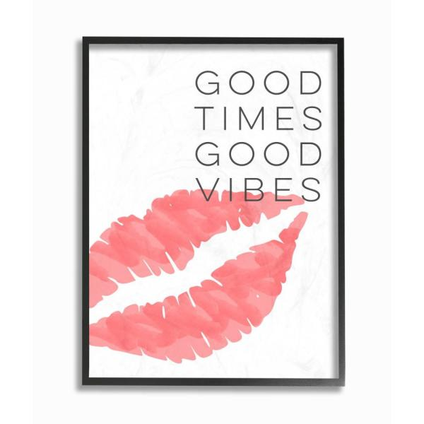 """The Stupell Home Decor Collection 11 in. x 14 in. """"Good Times Good Vibes Lip Print"""" by Daphne Polselli Wood Framed Wall Art"""