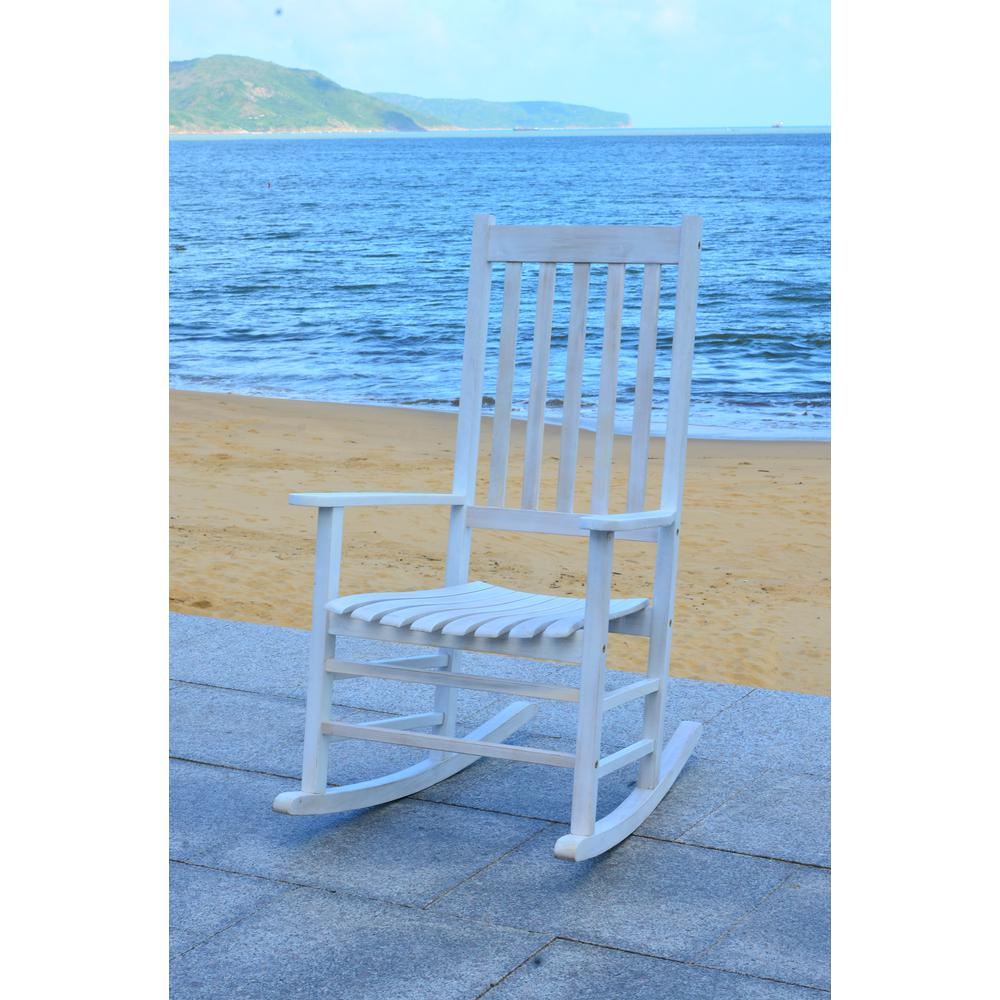 Enjoyable Safavieh Shasta White Wash Wood Outdoor Rocking Chair Bralicious Painted Fabric Chair Ideas Braliciousco