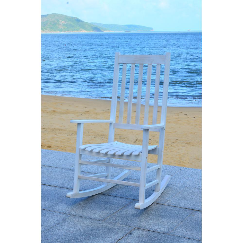 Remarkable Safavieh Shasta White Wash Wood Outdoor Rocking Chair Inzonedesignstudio Interior Chair Design Inzonedesignstudiocom