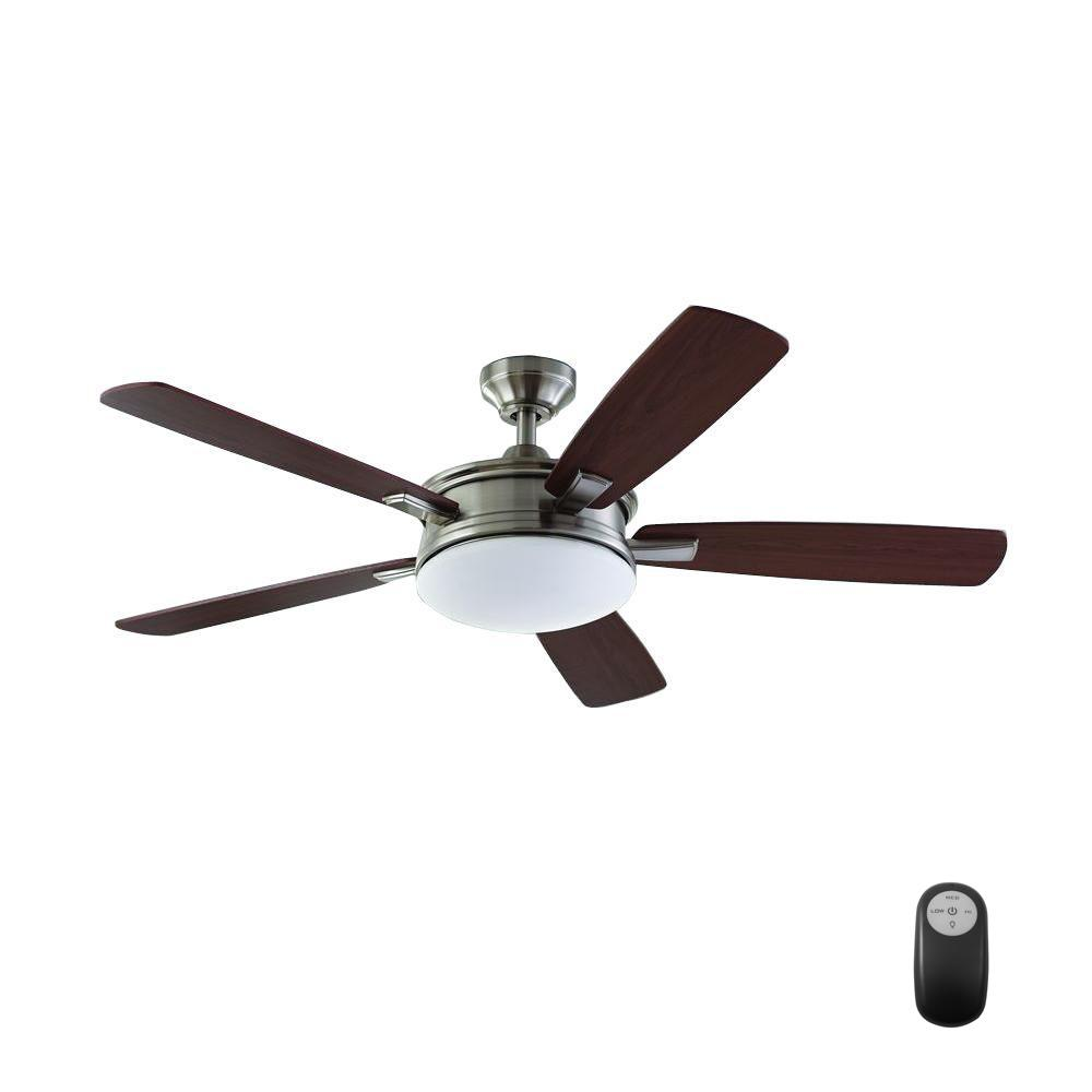 Home Decorators Collection Daylesford 52 In Led Indoor Brushed Nickel Ceiling Fan With Light