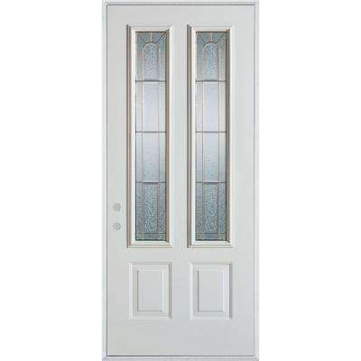 37.375 in. x 82.375 in. Geometric Zinc 2 Lite 2-Panel Painted White Right-Hand Inswing Steel Prehung Front Door