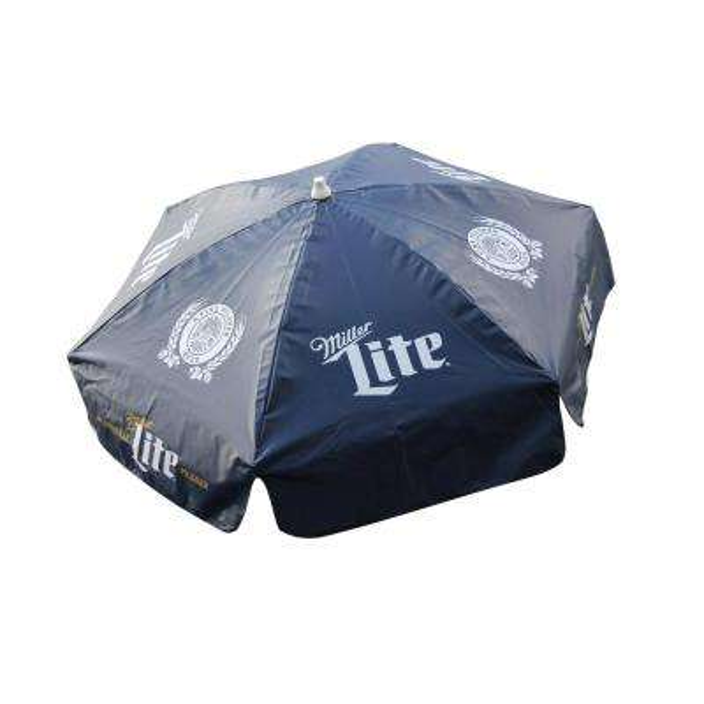 Miller Lite 6 ft. Aluminum Tilt Patio Umbrella in Navy Blue Vinyl