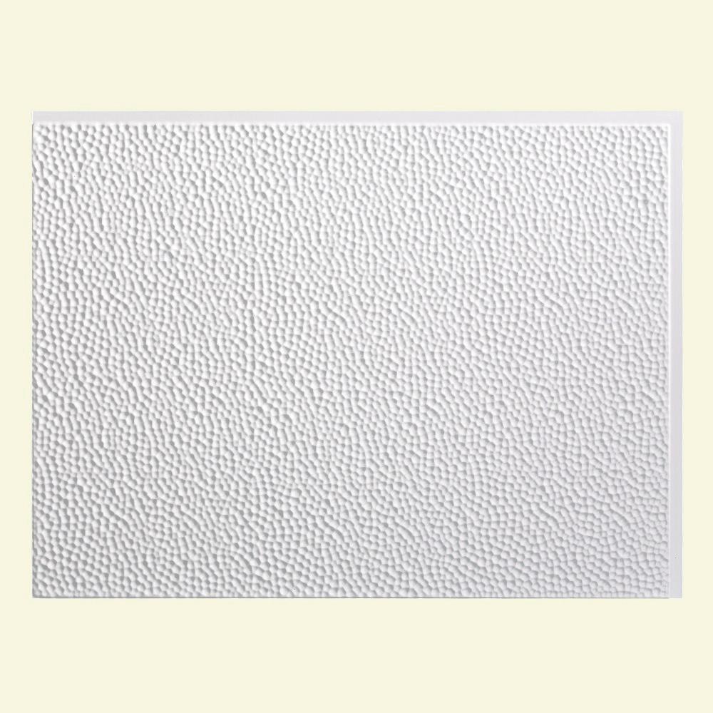 24 in. x 18 in. Hammered PVC Decorative Backsplash Panel in Gloss White