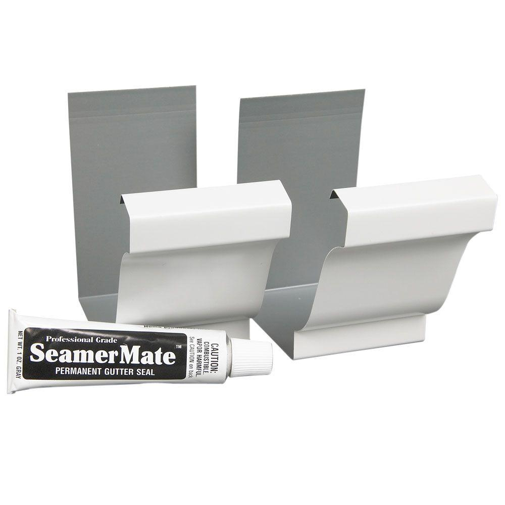 Amerimax Home Products 5 in. White Aluminum Seamers with Seamermate (2-Pack)