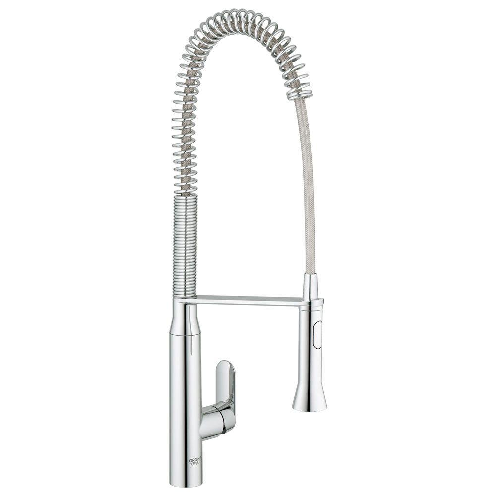 K7 Semi-Pro Single-Handle Pull-Out Sprayer Kitchen Faucet in StarLight Chrome