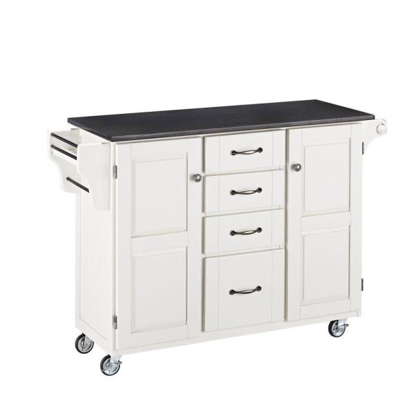 Home Styles Create-a-Cart White Kitchen Cart with Black Granite Top 9100-1024