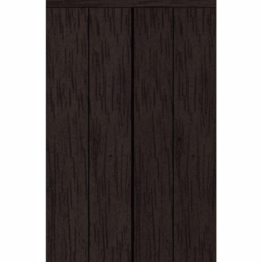 Impact Plus 96 in. x 96 in. Smooth Flush Solid Core Espresso MDF Interior Closet Bi-fold Door with Matching Trim
