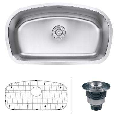 33 in single bowl undermount 16gauge stainless steel kitchen sink