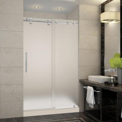 Langham 48 in. x 36 in. x 77.5 in. Completely Frameless Sliding Shower Door with Frosted Glass in Stainless Steel