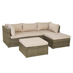 Deals on Hampton Bay Valley Peak 3-Pc Sectional Outdoor Patio Set