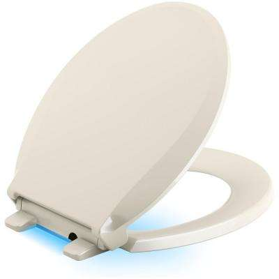 Cachet LED Nightlight Round Quiet Closed Front Toilet Seat in Biscuit