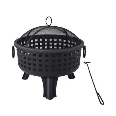 25 in. x 26 in. Round Steel Heavy-Duty Wood Burning Fire Pit in Black with Spark Screen and Poker