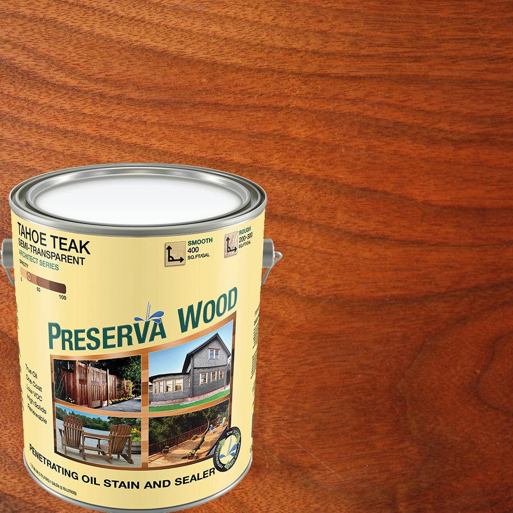 Exterior White Stain For Wood: Preserva Wood 1 Gal. Semi-Transparent Oil-Based Tahoe Teak