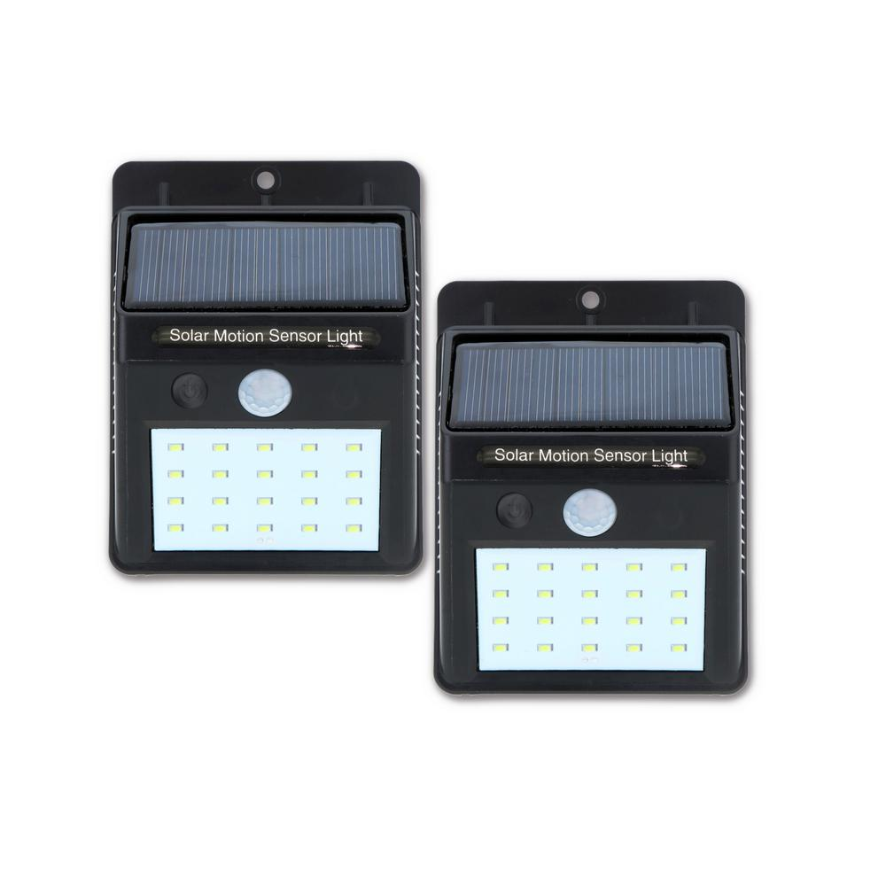 20-Light Black Motion Activated Outdoor Integrated LED Wall Pack Light (2-pack)