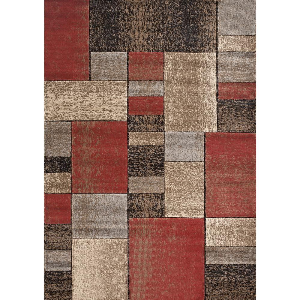 World Rug Gallery Iron Bridge Red 7 ft. 10 in. x 10 ft. 2 in. Area Rug