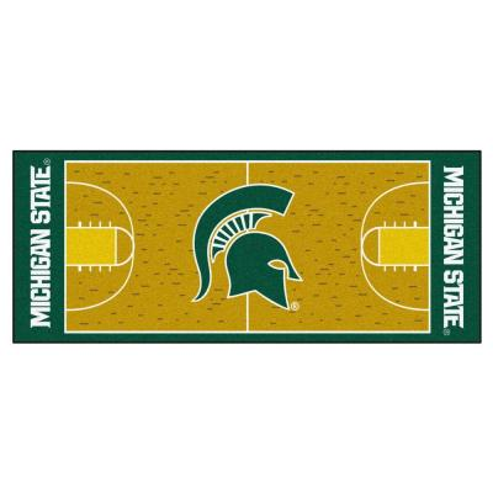 NCAA Michigan State University Cream 3 ft. x 6 ft. Basketball Runner Rug