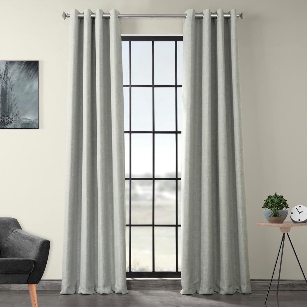 Heather Gray Faux Linen Grommet Blackout Curtain - 50 in. W x 96 in. L