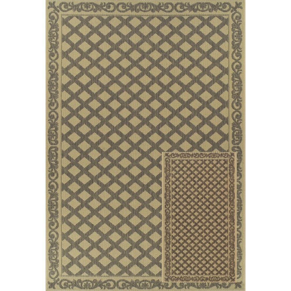 Martha Stewart Living Miramar Beige and Grey 7 ft. 7 in. x 10 ft. 10 in. 2-Piece Indoor and Outdoor Rug Set-DISCONTINUED