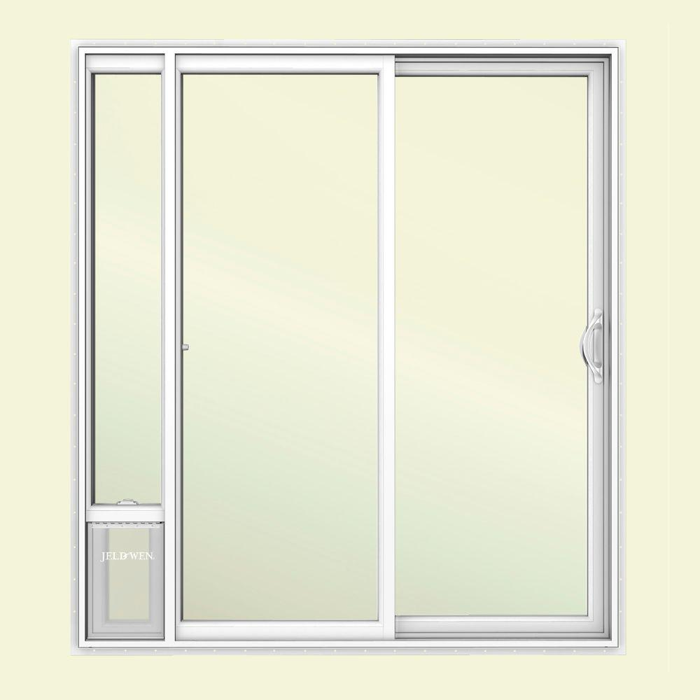 JELD-WEN 72 in. x 80 in. V2500 White Vinyl Prehung Right Hand 15 Lite Sliding Patio Door with Medium Pet Door