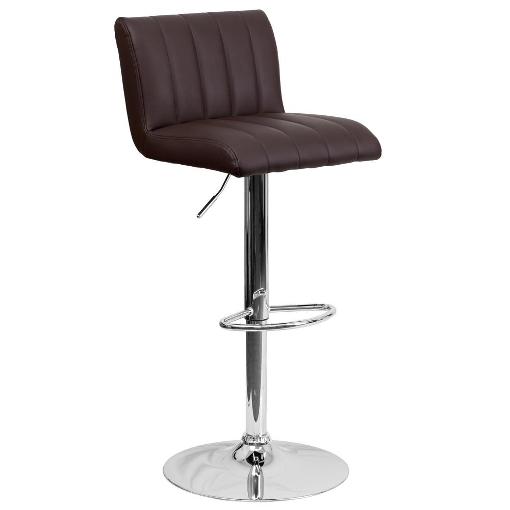 Adjustable Height Brown Cushioned Bar Stool