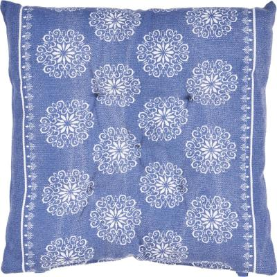 Intricate Blue / Ivory Floral Twilight 17 in. L x 17 in. W x 2 in. H Chair Pad ( Set of 2 )