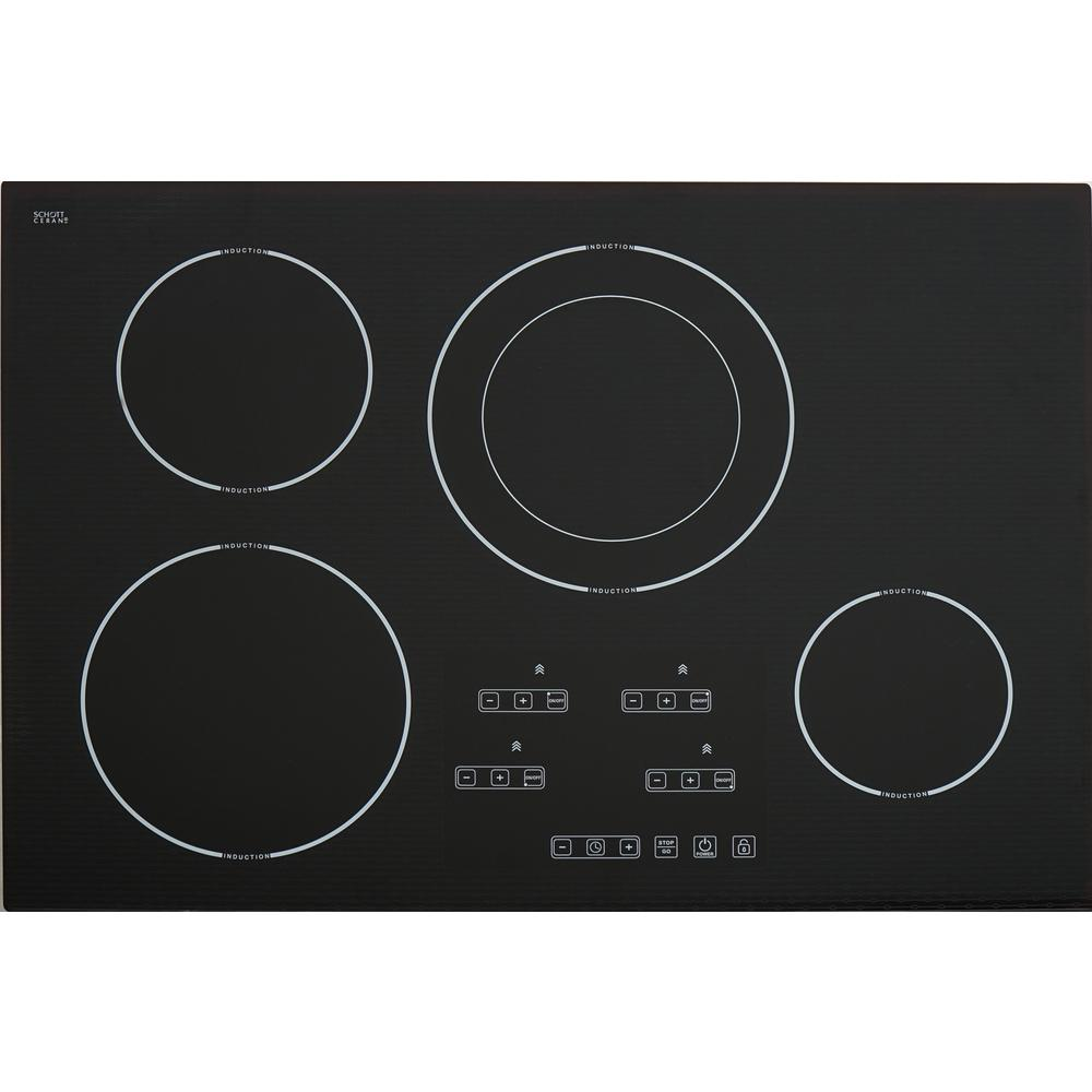 30 in. Schott Ceran Glass-Ceramic Induction Cooktop in Black with 4