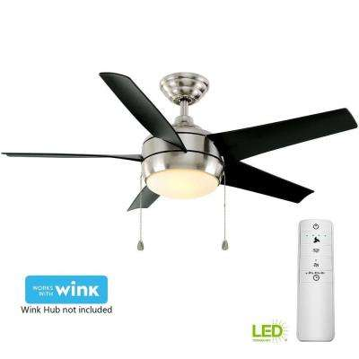 Windward 44 in. LED Brushed Nickel Smart Ceiling Fan with Light Kit and WINK Remote Control