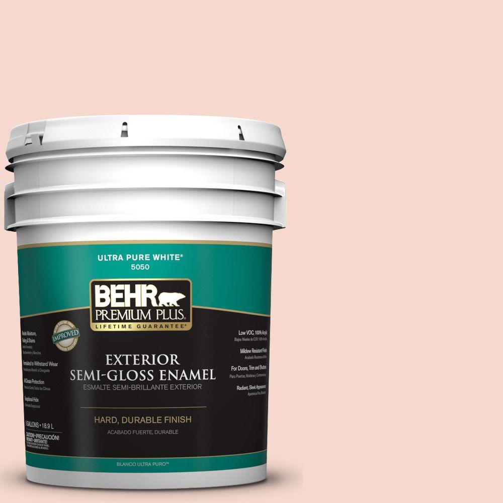 5-gal. #M190-1 Pink Sea Salt Semi-Gloss Enamel Exterior Paint