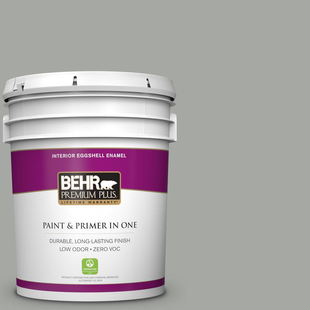 BEHR Premium Plus 5-gal. #ECC-35-1 Silver Clouds Zero VOC Eggshell Enamel Interior Paint