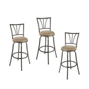 Stupendous Stetson 36 In Light Brown Cushioned Adjustable Height Swivel Bar Stool Set Of 3 Machost Co Dining Chair Design Ideas Machostcouk