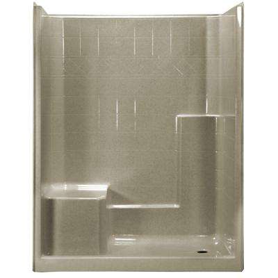 60 in. x 33 in. x 77 in. 1-Piece Low Threshold Shower Stall in Cotton Seed with Left Hand Side Molded Seat, Right Drain