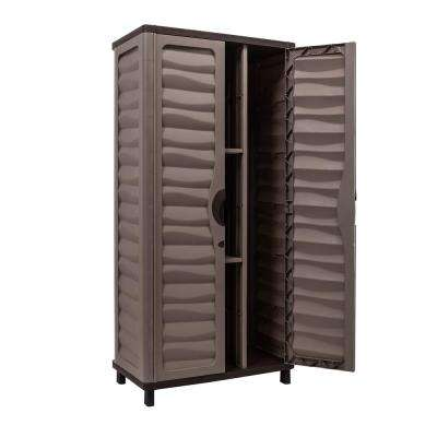Plastic Mocha Brown Storage Cabinet With 2 Shelves And Vertical Parion
