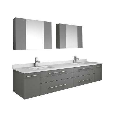 Lucera 72 in. W Wall Hung Vanity in Gray with Quartz Double Sink Vanity Top in White with White Basins, Medicine Cabinet