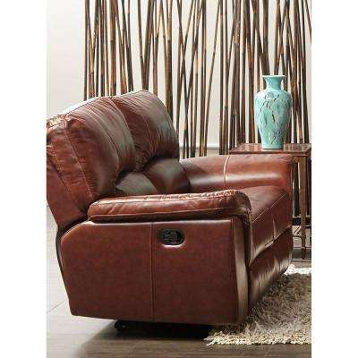 Charleston Power Brown Double Reclining Console Leather Loveseat