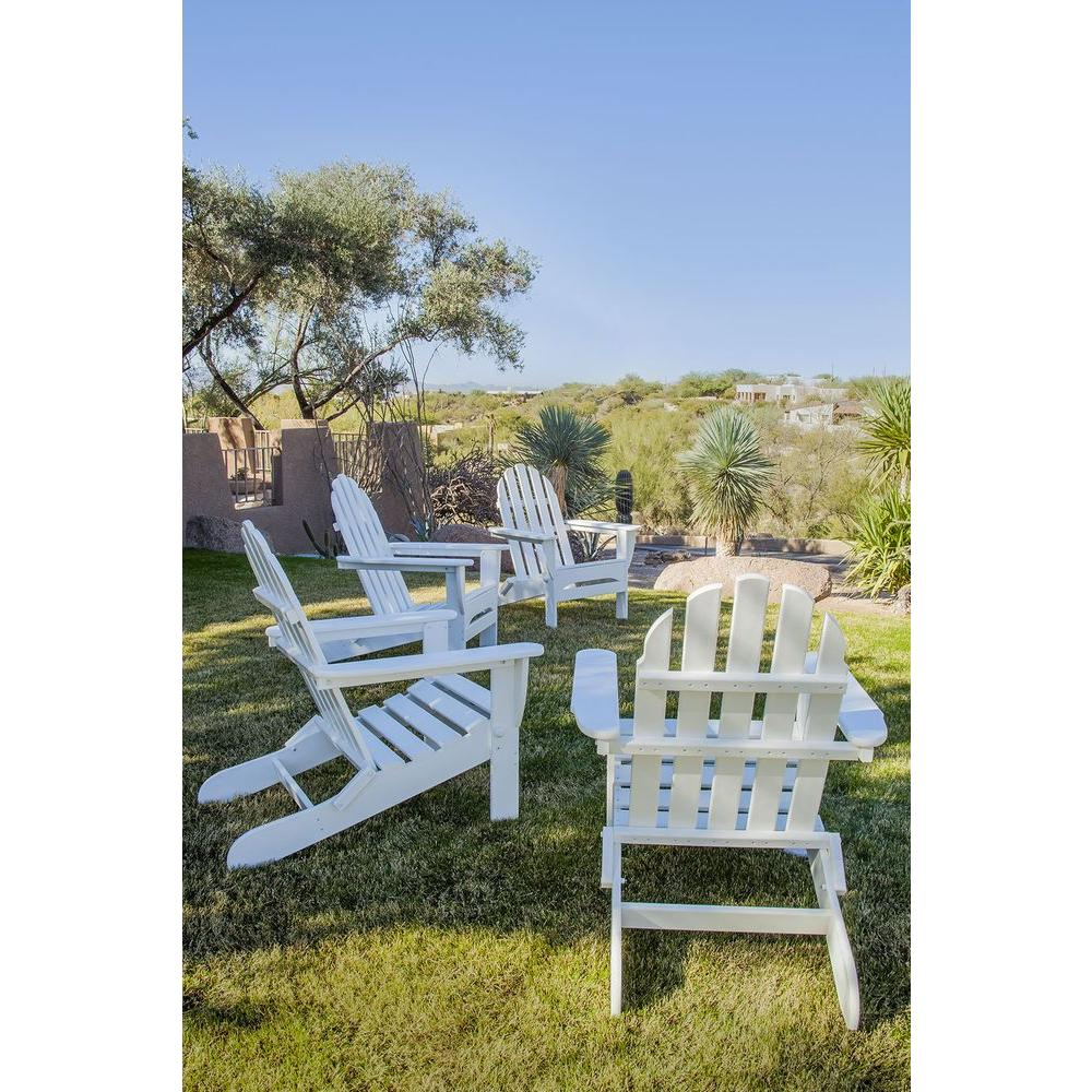 Classics White 4-Piece Folding Adirondack Patio Conversation Set