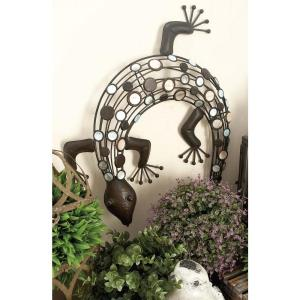 25 inch Contemporary Brown Iron Crawling Lizard Wall Decor by