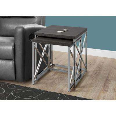 Grey 2-Piece Nesting End Table