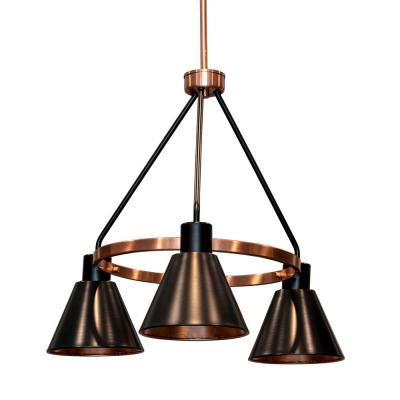 Carly 3-Light Antique Brass and Black Iron Metal Chandelier