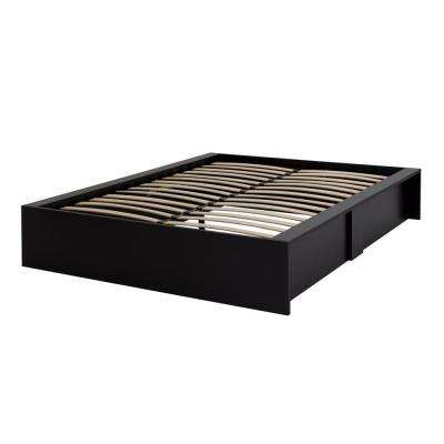 Step One Pure Black Queen-Size Storage Bed