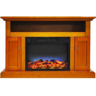 Kingsford 47 in. Electric Fireplace with Multi-Color LED Insert and Entertainment Stand in Teak