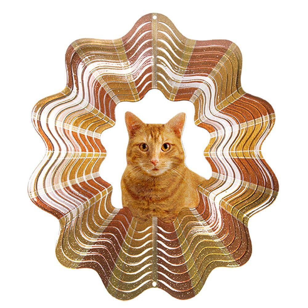 Iron Stop 6.5 in. Orange Tabby Cat Wind Spinner